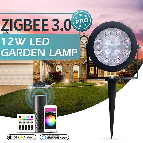 GLEDOPTO Zigbee 3.0 Smart LED Garden Lights 12W Pro Outdoor Waterproof IP65 Rating Work withTuya App Voice RF Remote Control