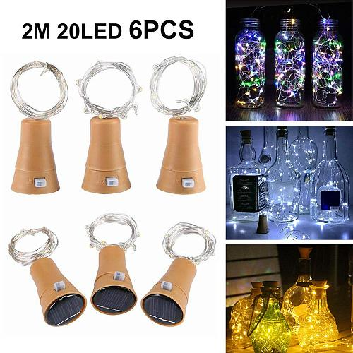 6 Pack Solar Wine Bottle Lights 20 LED Solar Cork String Light Copper Wire Fairy Light for Holiday Christmas Party Wedding Decor