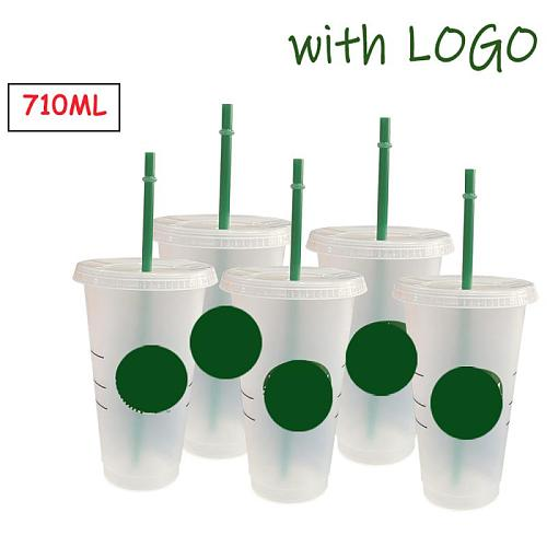 Color Changing Coffee Cup With Lid Straw Cup With Logo Reusable Drinkware Cup Tumbler Matte Plastic Cup Water Bottle 700ml/710ml