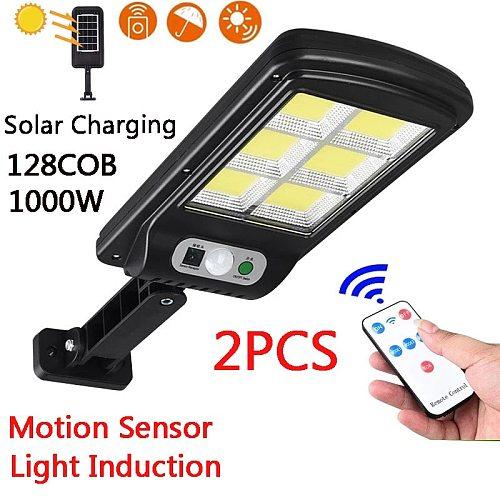 2PCS 128COB Solar LED Street Light Waterproof Motion Sensor Smart Remote Control 300W Outdoor Garden Security Wall Light