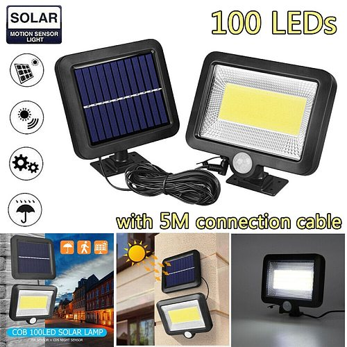 100COB LED Solar Lamp Solar Light With Motion Sensor Outdoor Garden Spotlight Solar Powered Wall Light For Path Street Courtyard