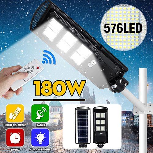 80W 140W 180W Solar Lamp PIR Motion Sensor Solar Street Light LED Outdoor Garden Wall Lamp with Remote Controller