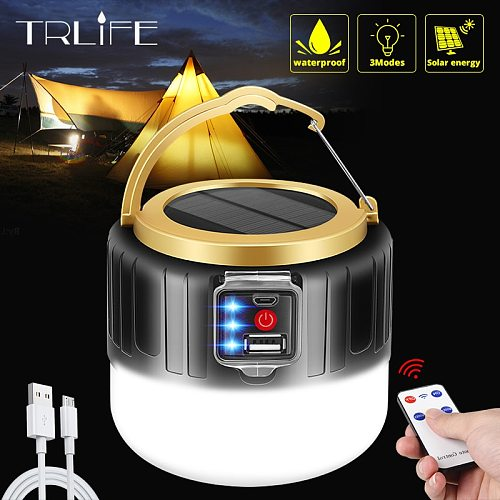 powerful Portable Lantern USB/Solar Charging Light  Night Market Lamp Mobile Outdoor Camping Power Outage Emergency Lamp for BBQ