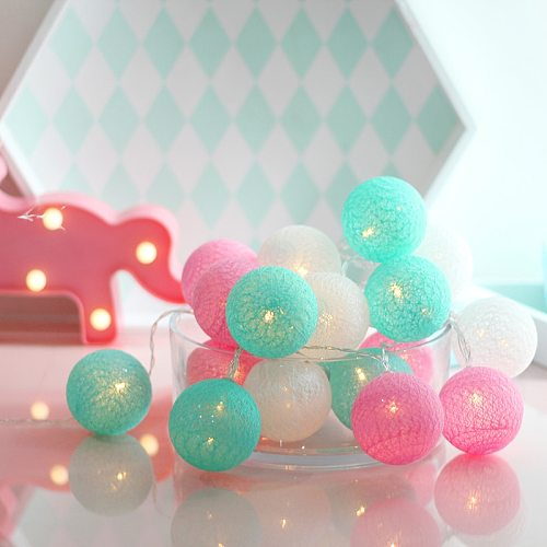 Cotton Ball Light Street Garland Led Chain String Outdoor Lamp USB Battery Plug Bedroom Wedding Birthday Gift Party Decorations