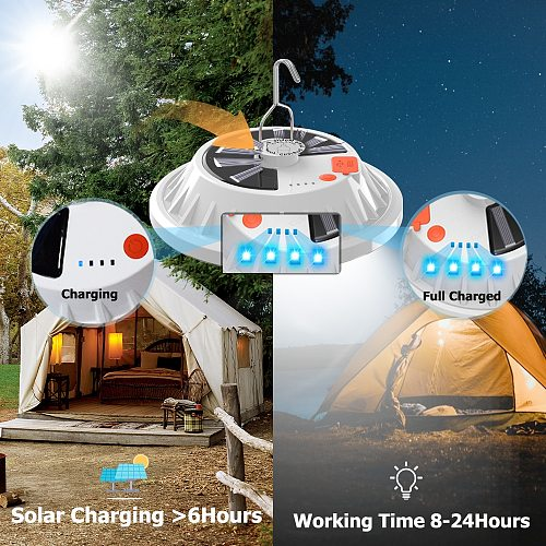 Camping Lantern Portable Light Solar Camping Lamp Tent Lantern LED Emergency Rechargeable Solar Power Bank For Portable Lighting