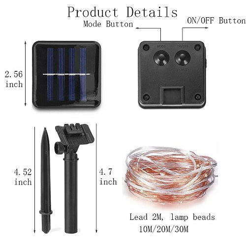 8 modes LED Outdoor Solar Lamp String Lights 10M 20M 30M Fairy Holiday Christmas Party Garland Solar Garden IP65 Waterproof lamp