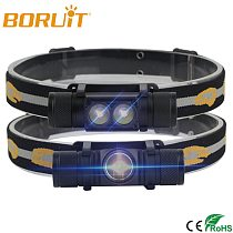 BORUiT 1000LM Headlamp LED Flashlight High Power With 18650 Battery Rechargeable Head Torch Head Torch Headlight For Fishing