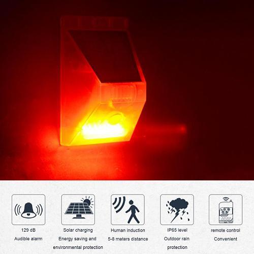 2021 Solar Sound Alert Flash Warning Sound Light Alarm Motion Sensor Decibels Siren Strobe Security Light Alarm System For Farm