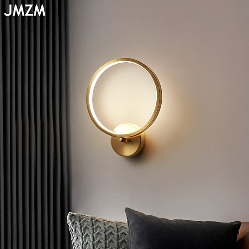 JMZM Gold Round Wall Lamp Copper LED Bedside Light Nordic Wall Mounted Light Bedroom Living Room Indoor Aisle Decorative Lamp
