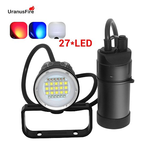 27 LED Canister Diving Video Light Waterproof 100m Underwater XM L2 Scuba Dive Torch Rechargeable 18650 Led Split Flashlight