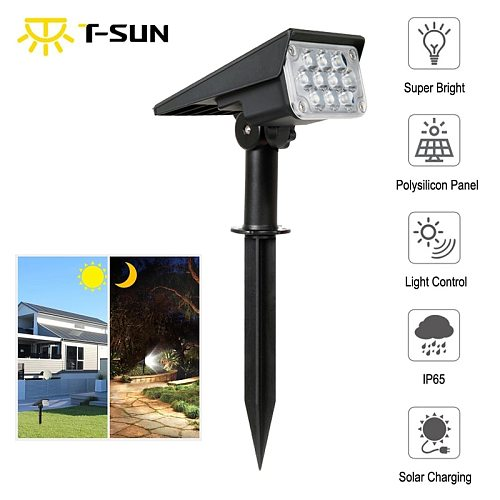 T-SUN 1pc/2pc/4pcs 20LED Adjustable Solar Spotlight Solar Garden Light IP65 Super Bright Landscape Outdoor Wall Light Solar Lamp