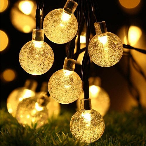 5M 10M Solar Lamp Crystal Ball Waterproof LED String Light Fairy Bulb Garden Christmas Decor for Outdoor Solar Lights Garland