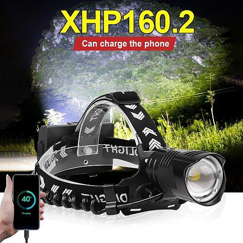800000 Lumen XHP160.2 LED Headlamp Flashlight Super Powerful Head lamp 18650 Rechargeable Headlight XHP90.2 XHP70.2 Head Lantern