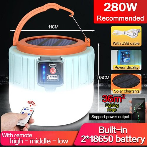 20000lm Portable Solar LED Camping Light USB Rechargeable Bulb For Outdoor Tent Lamp Lanterns Emergency Lights For BBQ Hiking