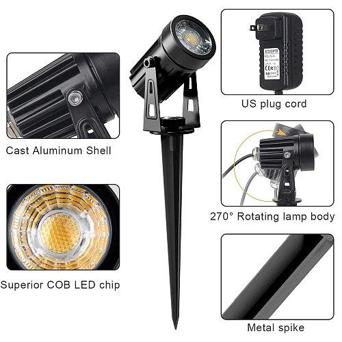COB Garden Lawn Lamp Light EU/UK/US Plug Super Bright Spotlight Light Landscape Lighting  Garden Lamp Outdoor IP65 Waterproof