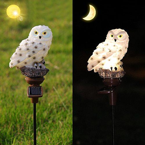 Owl Solar Garden Lights Lawn Solar Panel Fake Waterproof Solar Garden Lights Owl Ornament Outdoor Yard Garden Lamps