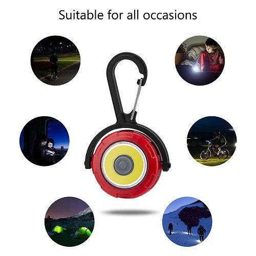 COB Mini Flashlight Keychain Flashlight Portable Flash Lights Pocket Torch Light 4 Modes Rotation Emergency Camping Light