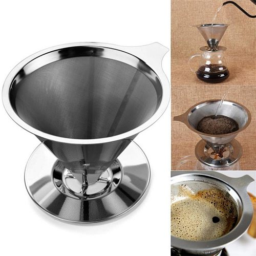 Stainless Steel Coffee Filter Holder Reusable Coffee Filters Dripper Drip Coffee Baskets