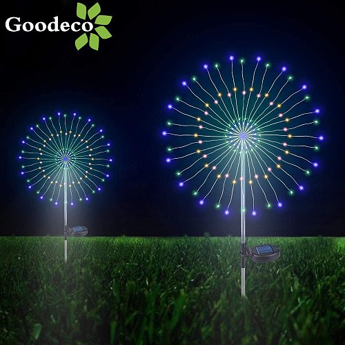 Goodeco Garden Outdoor Solar Fireworks Decor Light Solar Powered Lamp Jardin Yard Lawn Decorative Starburst Light Holida Light