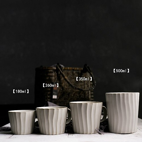 Japanese Coffee Cup Retro Irregular Breakfast Cup Exquisite Ceramic Cup Coffee And Saucer Set Cappuccino Cup Home Espresso Cups