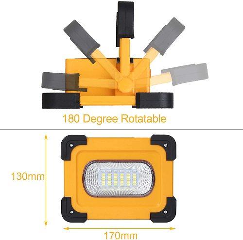 T-SUN 60W LED Portable Spotlight Super Bright Led Work Light USB+Solar Rechargeable for Outdoor Camping Lamp Led Flashlight