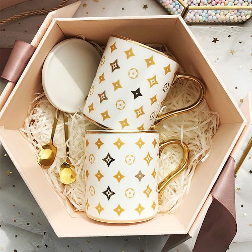 Nordic Ins Gold Circled Mug With Lid Spoon Light Luxury Creative Personality Trendy Water Cup Household Ceramic Coffee Mug