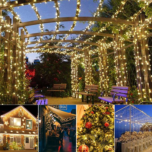 22m Waterproof Fairy Lights Solar Christmas Festoon Street Garland LED Solar Lamp Outdoor Lighting String for Garden Decoration