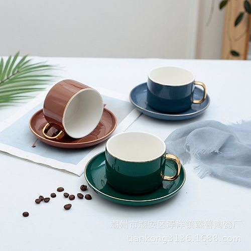 Nordic Simple Glazed Coffee Cup and Saucer Set Painted Gold Retro Afternoon Tea Flower Tea Cup Restaurant Supplies Mug