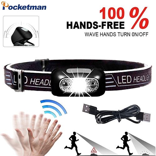 Powerful Induction LED Headlamp USB Rechargeable Headlight Built-in Battery Head Front Light Body Motion Sensor Head Lamp
