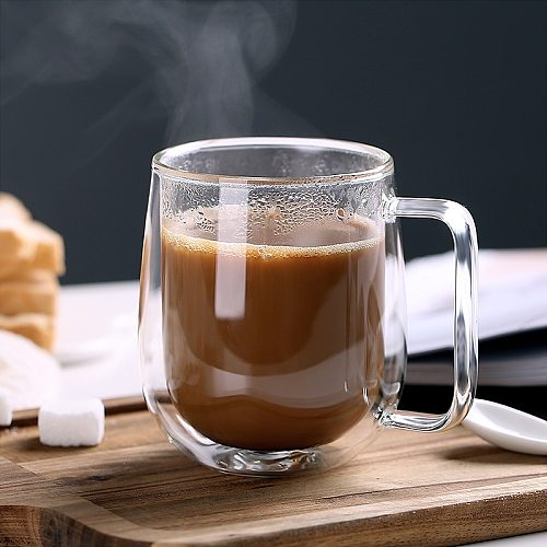 1pcs Double Wall Glass Cup Beer Coffee Heart Cups Heat Resistant Healthy Drink Mug Tea Mugs Transparent Drinkware Dropshipping