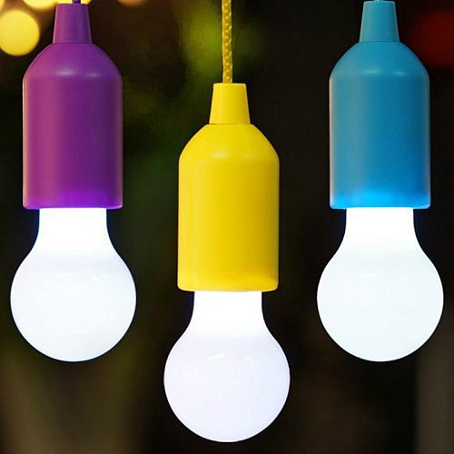 Colorful Pull Light Bulb Chandelier Portable Hanging Light Bulb Outdoor Camping Garden Decoration Hanging LED Night Light Lamp
