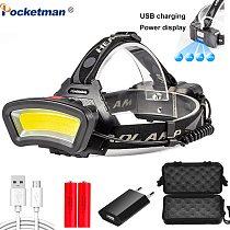 Rechargeable LED Headlight 200m Long Lighting Distance 20000LM Headlamp Wide Angle COB Head Lamp light Lantern USB Use 2*18650