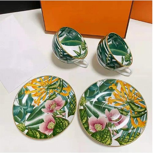 Elegant style catering bone china cup multi-style simple ceramic coffee cup and saucer dish with pattern set 2 set with box