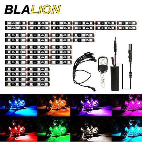 LED Smart Brake Lights Motorcycle Car Atmosphere Light with Wireless Remote Control Moto Decorative Strip Lamp Kit Ambient Lamp
