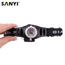 Sanyi LED Headlamp Headlight Zoomable Focus Lamp Waterproof Head Torch Flashlight Head Lamp Fishing Lantern use 3*AAA Battery