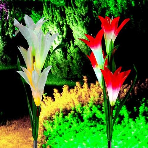 Solar Garden Light Outdoor Waterproof Christmas Wedding Decor White/Purple Flower Fairy Street Light Solar Power Lawn Lamp