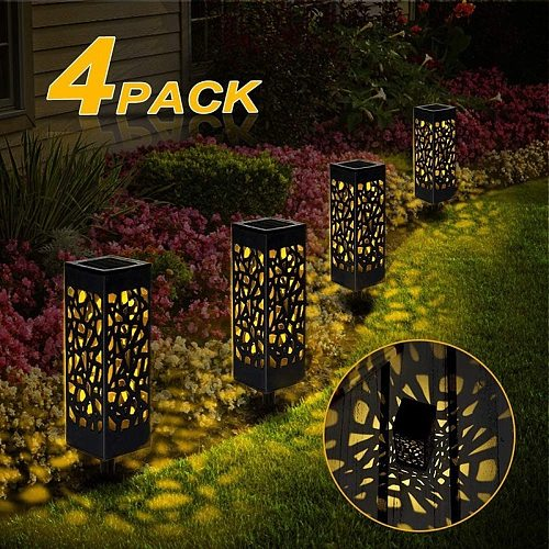 4 Packs Outdoor Waterproof Solar Lawn Lamp Garden Solar Lawn Light Street Lantern LED Path Lights Garden Decorative Night Light