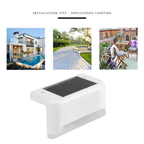 New 4pcs LED Solar Stair Lamp IP65 Waterproof Outdoor Garden Pathway Yard Patio Stairs Steps Fence Lamps Solar Night Light