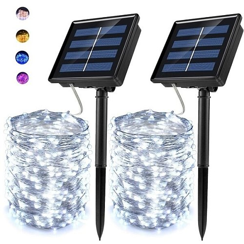 guirlande solaire Solar String Light 10m 20m 100LED Silver wire Fairy Tale Indoor Outdoor Waterproof led Light  Party Christmas