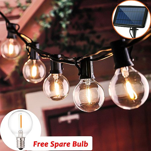 10/25LED Clear LED Bulbs Solar LED String Light Outdoor Decorated Vintage Backyard Patio Holiday Waterproof Hanging Garden Light