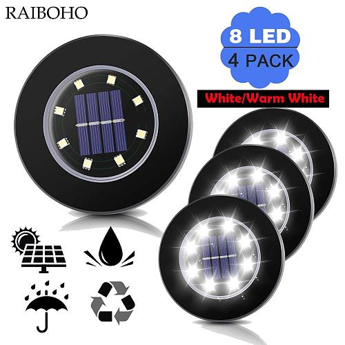 4Pcs 8LED Solar Garden Lights Outdoor Wateproof Solar Powered Ground Light Pathway Deck Lights for Home Yard Driveway Lawn Road