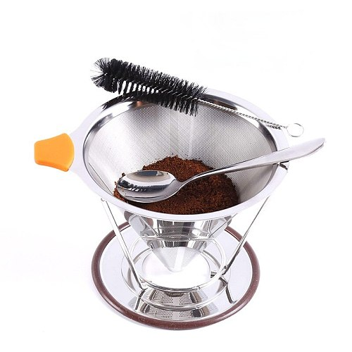 New coffee filter screen stainless steel funnel coffee filter hand wash coffee filter cup