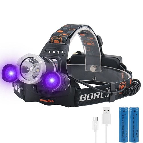 2000LM 3LED T6 XPE Headlamp UV Light Outdoor Headlight Waterproof USB Head Lamp Torches Lantern For Hunting