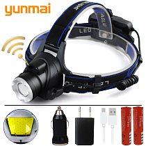 yunmai Induction LED Headlight IR Sensor XM-L2 U3 XM-L T6 led headlamp zoom head flashlight XHP50 head lamp front light