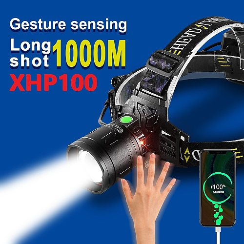 NEW XHP100 Most Powerful Led Headlamp Rechargeable Head Flashlight 18650 High Power Sensor Head Lamp Xhp90 Usb Fishing Headlight
