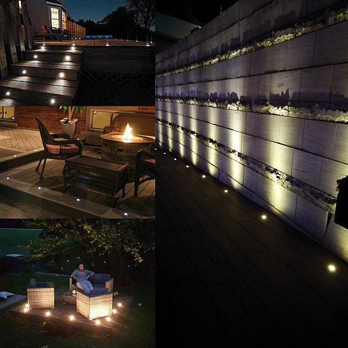 LED Deck Light IP67 Waterproof Recessed Underground Lamp Buried Light 1W Stair Floor Lighting Wall Spotlight DC12V with Driver