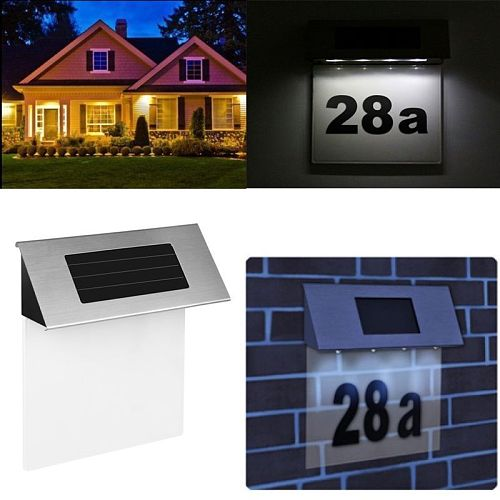 Address Numbers for Houses Solar Powered Address Sign LED Reflective Illuminated House Number Outdoor  for Street Yard