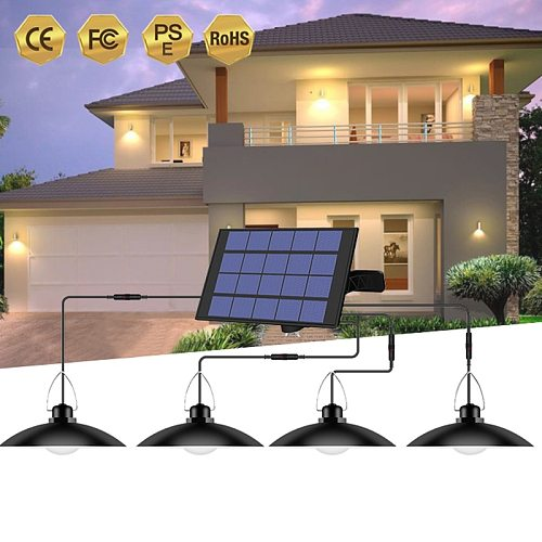 4/2/1 Heads Solar Pendant Light with cable waterproof outdoor solar lamps sunlight powered lamp with lampshade for graden path