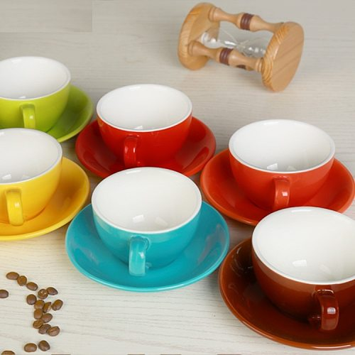 220 ml high-grade ceramic coffee cups Coffee cup set Simple European style Cappuccino flower cups Latte