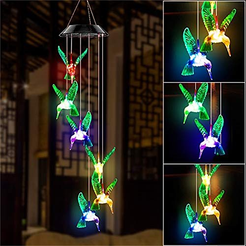 LED Colorful Solar Power Wind Chime Crystal Hummingbird Butterfly Waterproof Outdoor Windchime Solar Light for Garden